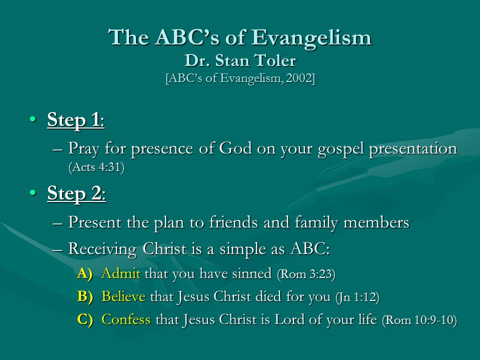 The ABC's of Evangelism Dr. Stan Toler [ABC's of Evangelism, 2002]